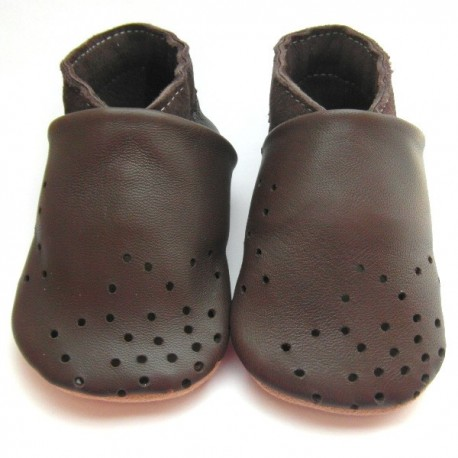 Chaussons cuir souple chocolat