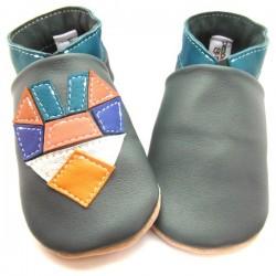 Chaussons cuir souple - tangram Coeur