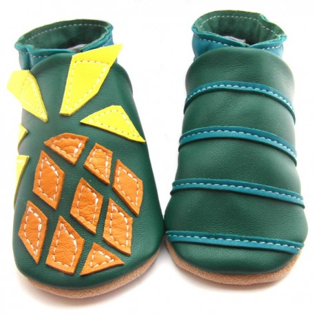 Chaussons cuir souple Ananas