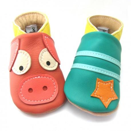 Chaussons cuir souple cochon